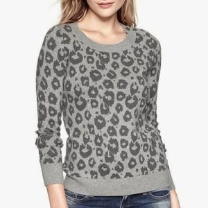 GAP grey leopard sweater
